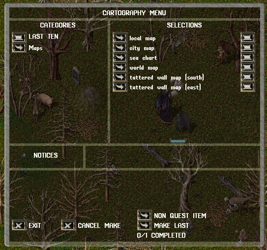 Cartography menu