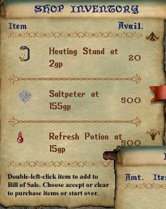 Alchemist inventory