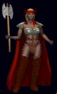 Xena wearing her thigh high red leather boots and red velvet cloak